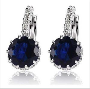 Aros Swarovski Elements Cristal Azul Novias
