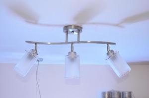 Lampara De Techo 3 Luces Vidrio Metal Vidrio Envios Gratis