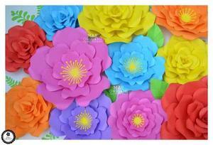 10 Flores Gigantes De Papel 35 Y 45 Cm