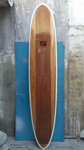 Longboard Surf Epoxi 9 Pies Enchapada En Madera