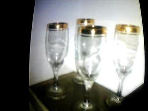juego de 4 copas de cristal frances con doble borde de oro
