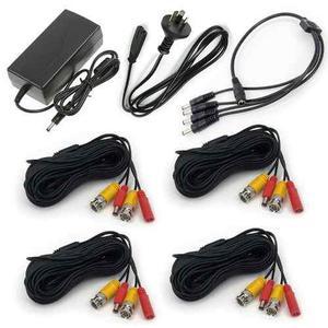 Fuente 12v 5a + Splitter 1x4 + 4 Cables Video Bnc 20mts Cctv