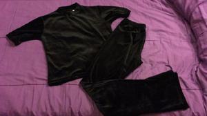 Conjunto plush negro m chifon pantalon y remera
