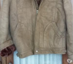 Campera hombre cuero gamuza con abrigo piel