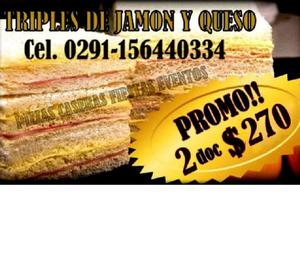 Sandwiches triples de jamon y queso en promocion.