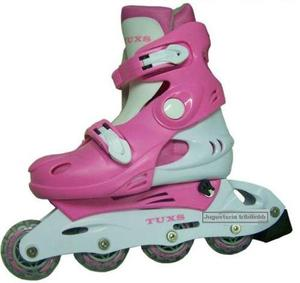 Patines Rollers Extensible Talle M Rosa Barbie Ruedas Silico