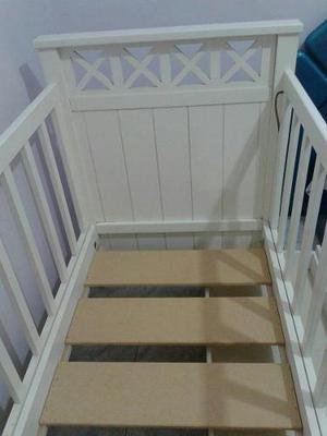 Cuna Madera Color Blanco Impecable Poco Uso