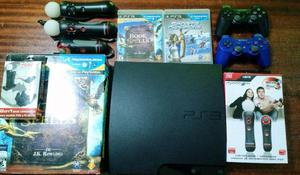Play Station 3 Slim + 2 Move y Cam y 2 Joysticks originales
