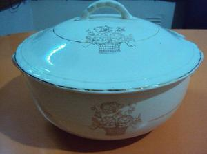sopera antigua porcelana boulogn detalles en oro excelente