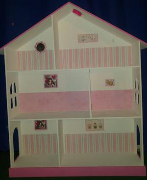 Casita De Muñeca Barbie Pintada Y Decorada Con Luz Led De