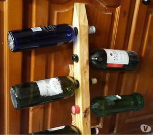 Botellero de algarrobo de pared para 5 botellas posot class - Botellero de pared ...