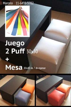Juego de 2 Puff de 30x30 Mas Mesa Puente de 80x40 Nuevo