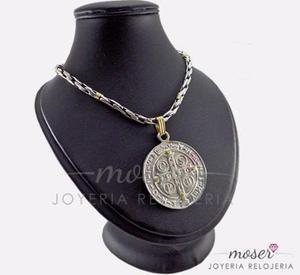 9feea1a2473b Cadena plata y oro + dije san benito grande plata y oro