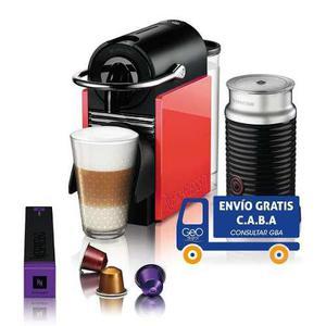 Cafetera Nespresso Combo Pixie Clips Blanca Coral Aeroccino