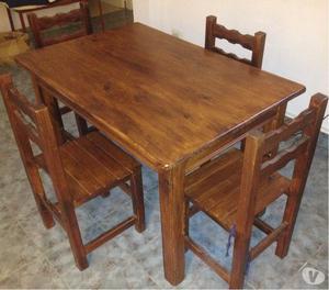 Vendo mesa de pino macizo con 4 sillas