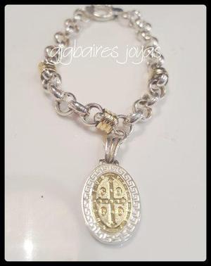 Pulsera De Plata 925 Y Oro Rolo Con Medalla De San Benito