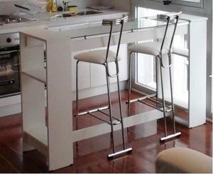 Barra desayunador moderno mueble laqueado posot class for Mueble isla cocina