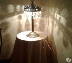 lampara de bronce macizo con cristal y piedras