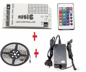 Kit Controladora Audioritmica + Tira Led Rgb  + Fuente