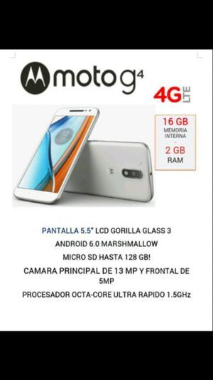 MOTO g4 4G 16 GB INTERNA. 2 GB RAM LIBRE, NVO Y ORIGINAL!