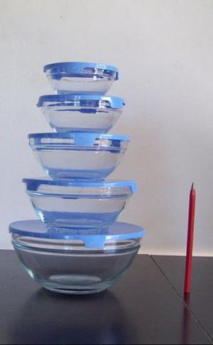 Set De 5 Bowls De Vidrio Apilables Con Tapa