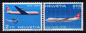 2 Estampillas De Suiza Tema Aviones Año  A