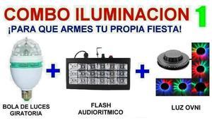 Combo Luces Dj - Bola + Flash Estrobo + Luz Ovni - La Plata