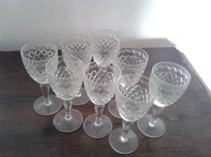 copas antiguas cristal labrado para licor o jerez, con