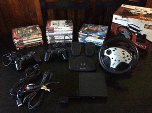 Playstation 2 Mas 2 Joysticks,volante Y Mas De 30 Juegos