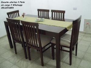 ♥ Mesa y 6 sillas en guatambu !! Flete sin cargo !!