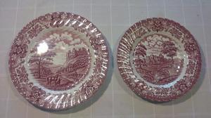 Par de lindos platos decorativos ingleses para colgar