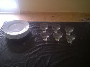 vendo combo de 6 platos de ceramica y 6 copas de vidrio para