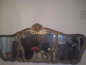 Espejo Antiguo Estilo Francés Biselado Con Marco Tallado