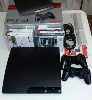 Ps3 Playstation 3 Slim 250 Gb + 2 Joystick + 9 Juegos