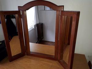 Vendo espejo tríptico de algarrobo usado