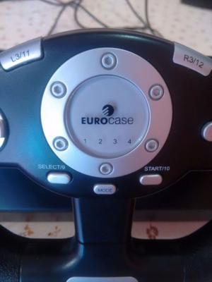 Volante y pedal Eurocase para PC, PS2 y PS3