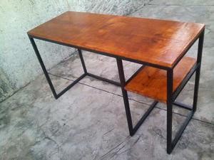 Estanteria industrial hierro y madera posot class - Escritorio estilo industrial ...