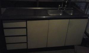 Mueble bajo mesada+mesada y bacha con canilla acero inox