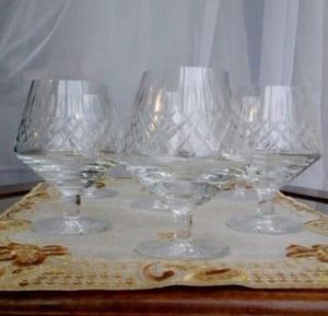 Bellísimo juego de copas de cogñac/Brandy - Cristal