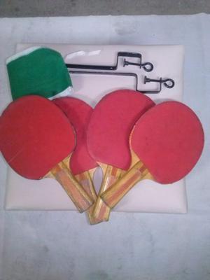 Vendo 4 paletas de ping-pong, red y soporte en muy buen