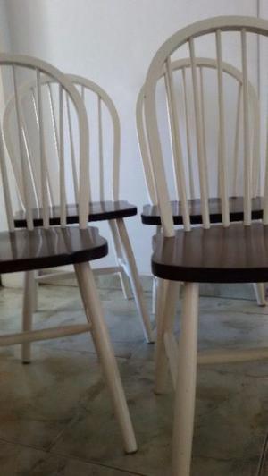 4 sillas windsor madera nogal importadas estilo nórdico