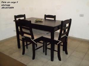 ♥ Mesa de 1.20 y 4 sillas !! Flete sin cargo !! ♥