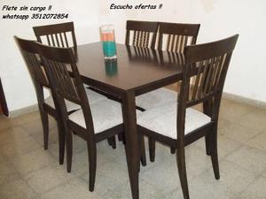 ♥ Mesa y 6 sillas !! Flete sin cargo !! Escucho ofertas !!