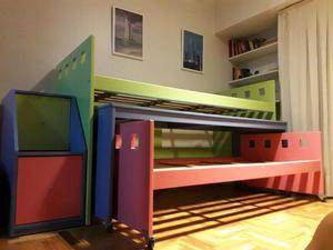 Mesa de luz de madera 3 cajones laqueada posot class for Cama nido precios baratos