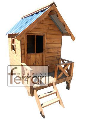 casita infantil m1 mini de maderas ferrari  techo chapa