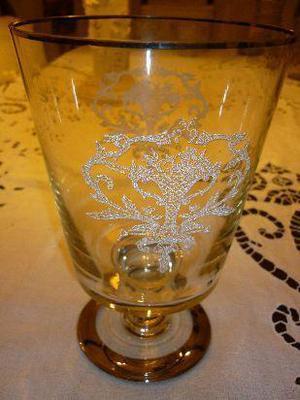 florero, hielera copón antiguo de cristal con pie con
