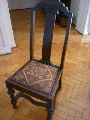 silla antigua estilo colonial inglés de roble macizo