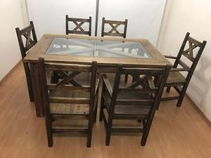 Juego de comedor hierro y vidrio posot class for Juego de comedor de vidrio y madera