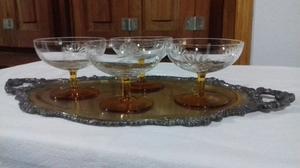 Copas de cristal tallado base ambar