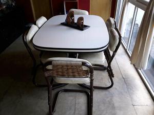 Mesa de cocina extensible, con 6 sillas